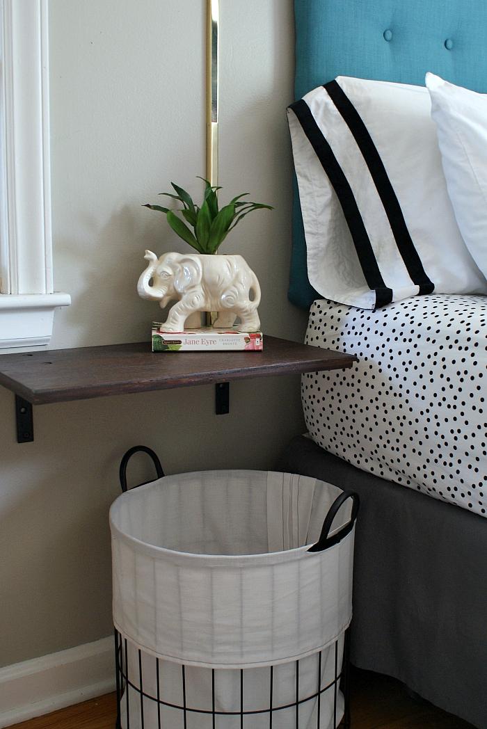 DIY floating nightstand shelf