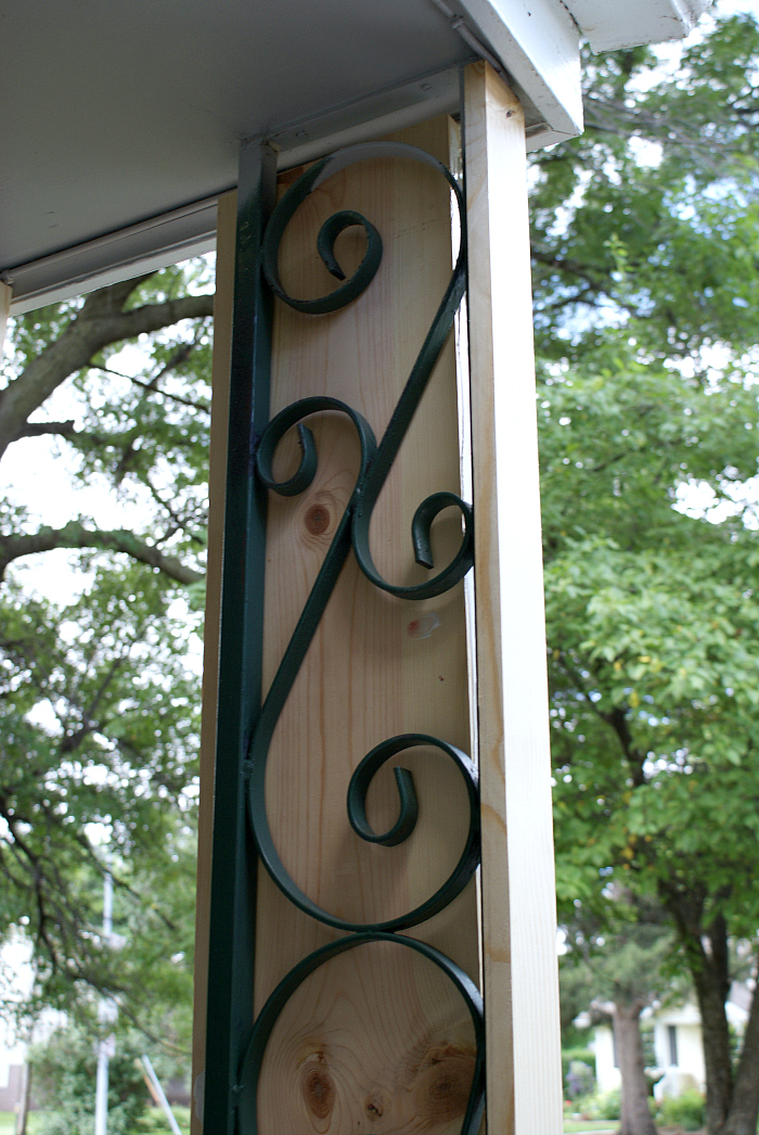 hiding dated front porch scrollwork