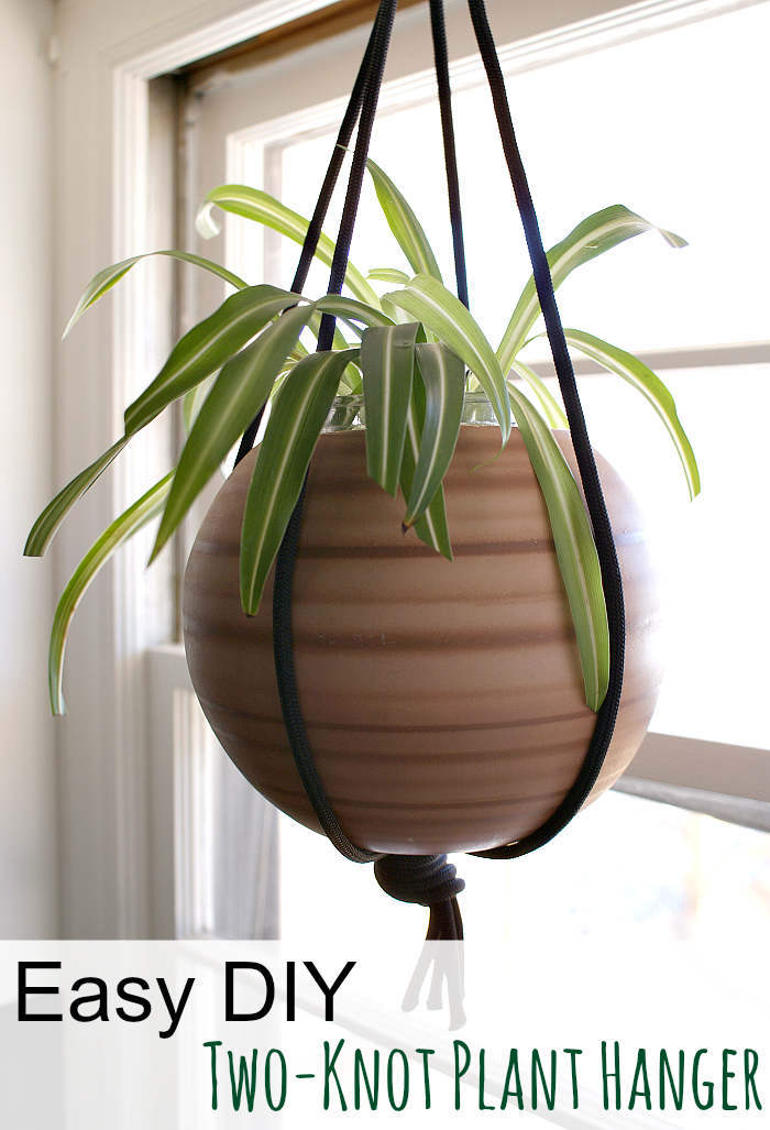 how to make a simple plant hanger using rope and two knots