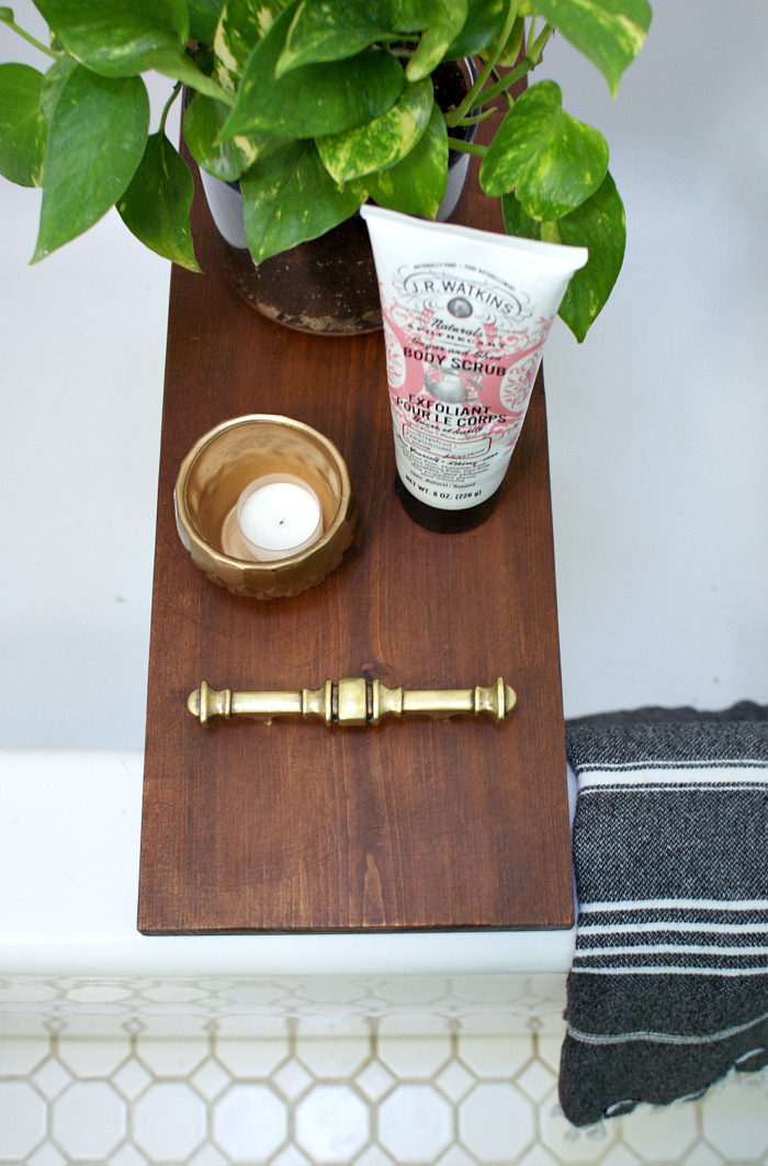 diy bathtub tray with brass hardware