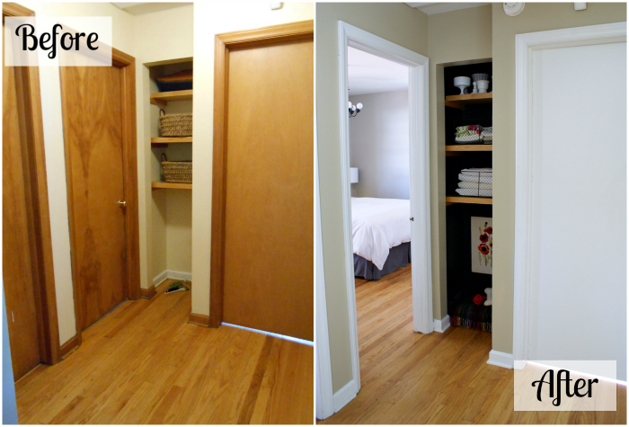 hallway before and after, black linen closet
