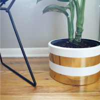 DIY White and Gold Striped Planter