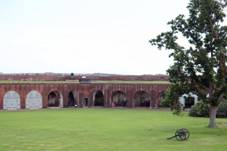 Fort Pulaski lawn and brick battlements with civil war cannon